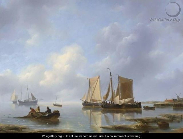 Shipping In An Estuary - Petrus Jan Schotel