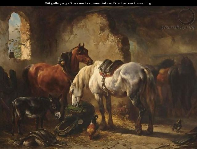 Horses And A Donkey In A Stable - Wouterus Verschuur
