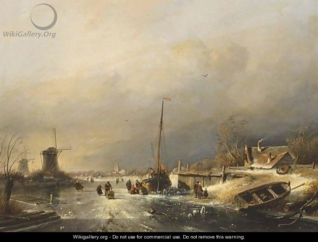 A Winter Landscape With Figures On The Ice Near A Barge, A Town Beyond - Charles Henri Leickert