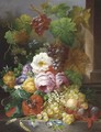A Still Life With Fruit And Flowers - Jan Van Der Waarden