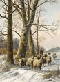 A Shepherd In A Winter Landscape - Alexis de Leeuw