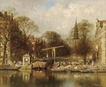 A View Of The Groenburgwal With The Zuiderkerk, Amsterdam - Johannes Christiaan Karel Klinkenberg