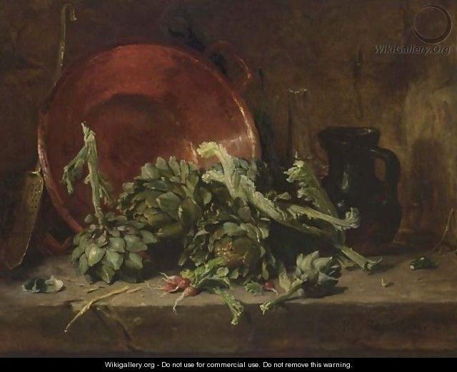 A Still Life With Artichokes - Philippe Rousseau