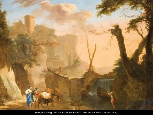 Italianate Landscape With Figures Cattle And Sheep Crossing A Dam - (after) Herman Van Swanevelt