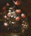 Still Life With Roses, Tulips And Various Other Flowers In A Bronze Vase - (after) Margherita Caffi