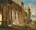 Elegant Figures Before A Palace With A Fountain Beyond - (after) Jacob Balthasar Peeters
