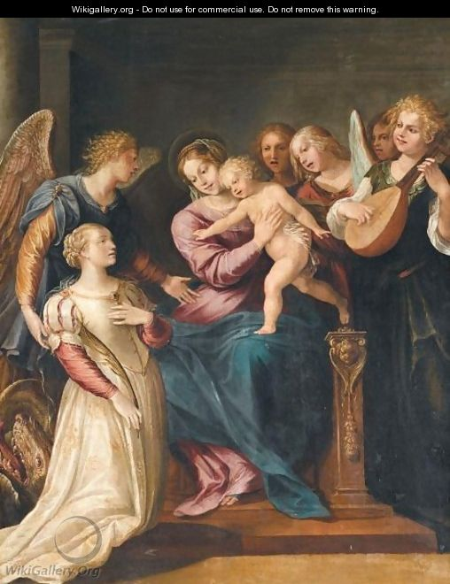 The Holy Family With Saint Margaret And Angels - (after) Giuseppe (d