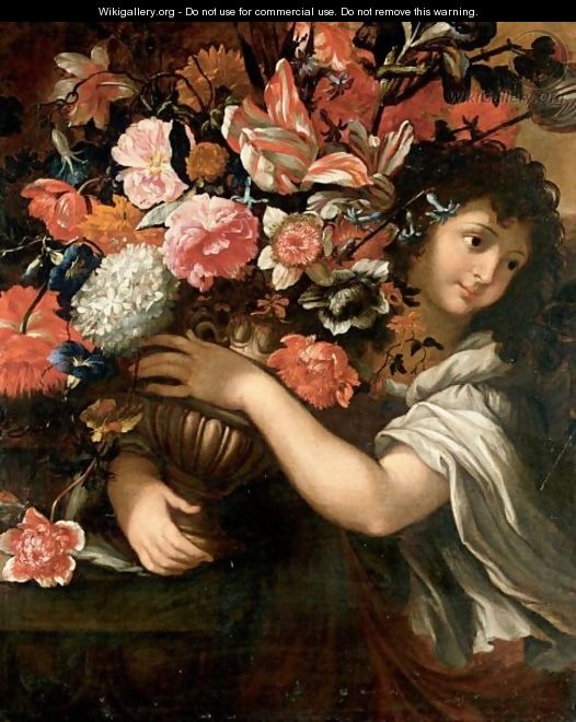 Still Life With A Young Boy Holding A Bouquet Of Flowers In A Bronze Urn - Roman School