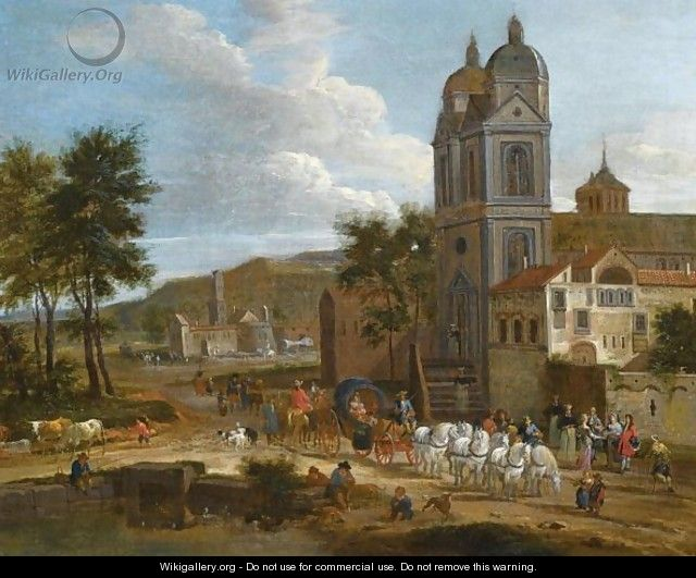 A Landscape With A Cart Drawn By Six White Horses Leaving A Town, A Fisherman And A Drover By A Pond - Pieter Bout