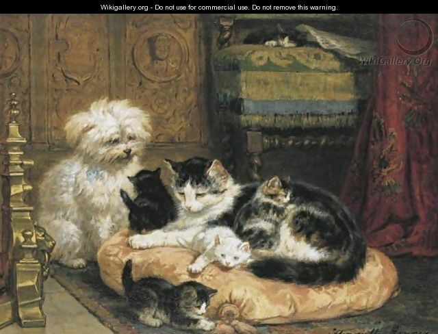 A Cat With Her Four Kittens With A Friendly Dog - Henriette Ronner-Knip