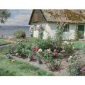 Rose Bushes And A Cottage By The Water, Sorup - Peder Monsted