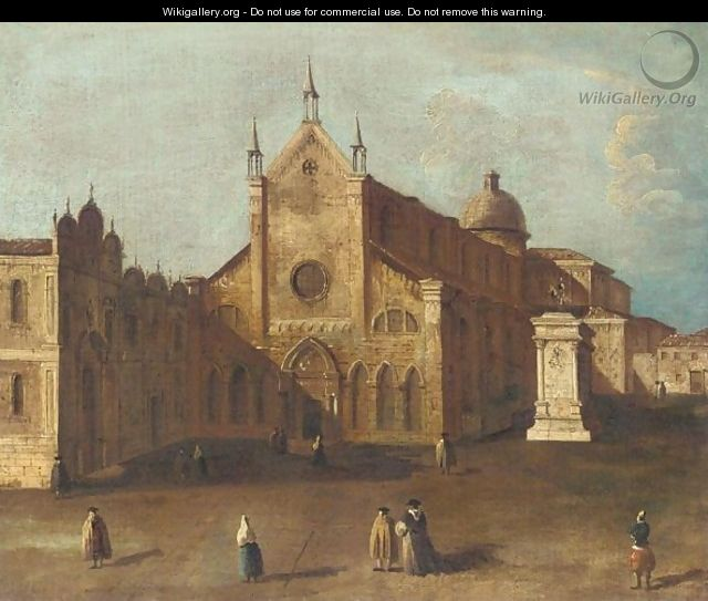 Venice, A View Of The Campo Di Ss. Giovanni E Paolo With The Scuola Di San Marco, And The Monument To Bartolommeo Colleoni - Venetian School