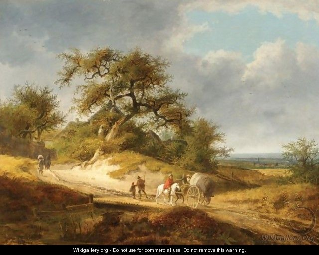 A Wooded Landscape With Dunes And Travellers - French School
