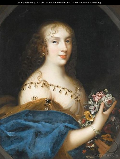 Portrait Of A Young Lady, Half Length, Holding A Bunch Flowers - (after) Louis Ferdinand (the Elder) Elle