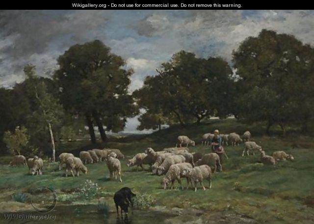 Shepherdess And Her Flock 2 - Charles Émile Jacque