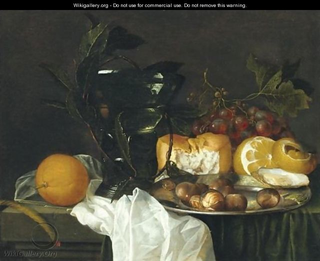 Still Life With A Roemer, A Peeled Lemon, Bread, An Oyster And Chestnuts On A Pewter Dish - Jan Davidsz. De Heem