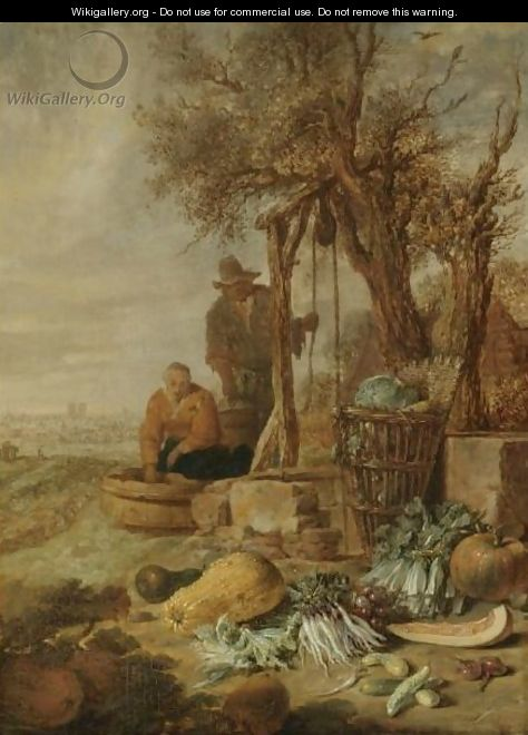 A Peasant Couple By A Well With A Distant View Of Paris - Willem Kalf