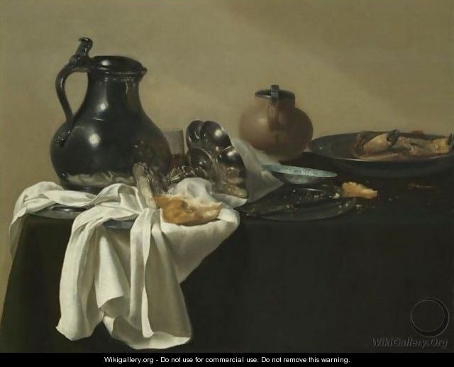 Still Life With A Pewter Jug, A Tazza On Its Side, A Bread Roll, A Crab In A Pewter Dish - Jan Jansz. den Uyl