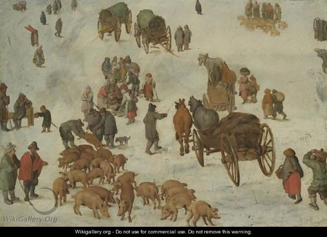Studies Of A Pig Market - Jan, the Younger Brueghel