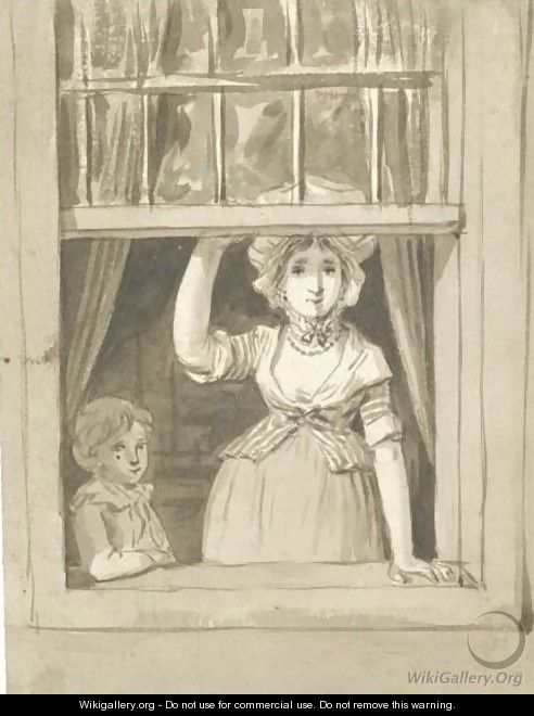 A Woman Standing At An Open Sash Window, A Small Boy Beside Her - Anthonie Andriessen