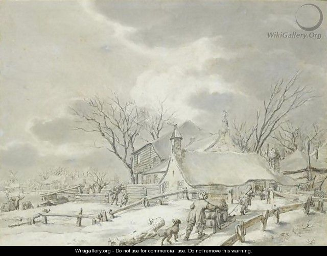 Winter Landscape With Peasants With A Sledge By A Farm, A Town Beyond - Jacob Cats
