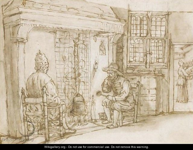 Two Men, One Elaborately Dressed, Before A Fireplace, A Woman In A Kitchen Beyond - (after) Cornelis De Man