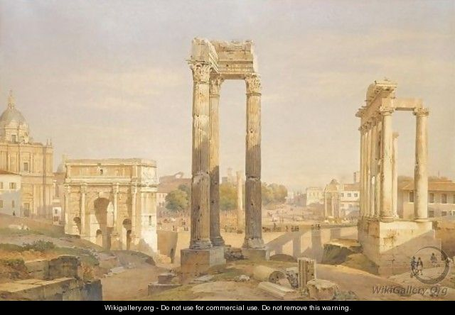 A View Of The Roman Forum, With Oxen And Carts In The Middle Ground - Hermann David Salomon Corrodi