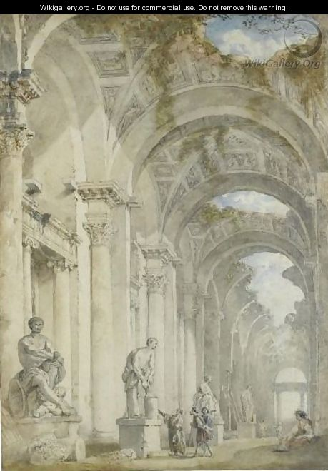 A Sculpture Gallery In A Ruined Arcade - (after) Giovanni Paolo Panini