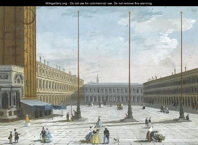 A View Of Piazza San Marco, Looking West - Giuseppe Bernardino Bison