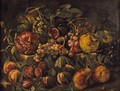 Still Life With Figs, Pomegranates, Quinces, Grapes And Plums On A Stone Ledge - Ecole Francaise, Xixeme Siecle