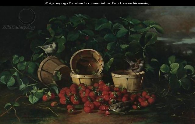Still Life With Strawberries And Sparrows - Edward Chalmers Leavitt