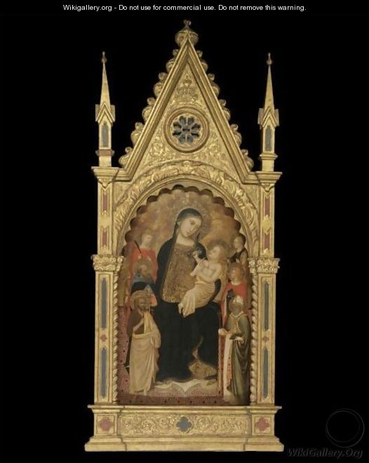 The Madonna And Child Enthroned With Saints Catherine Of Siena - Florentine School
