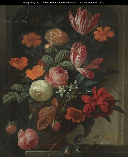 Still Life With Flowers In An Urn On A Stone Ledge - Elias van den Broeck