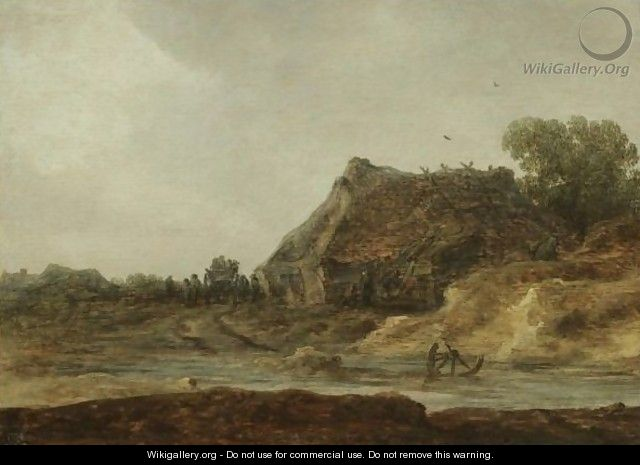 Travellers Passing A Peasant Settlement - Jan van Goyen