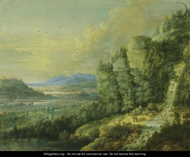 An Extensive Landscape With A Waterfall - Lucas Van Uden