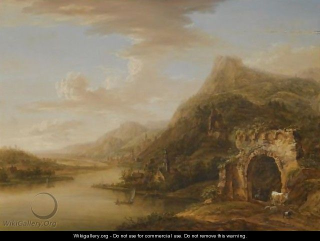 An Extensive Rhenish Landscape With A Ruined Arch In The Foreground - Christian Georg II Schutz or Schuz