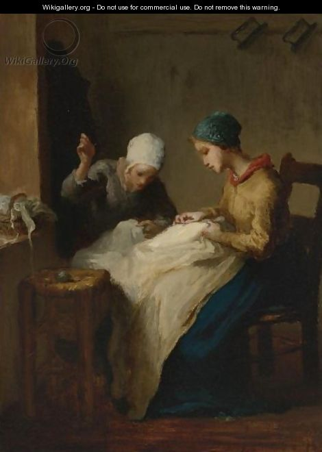 The Young Seamstresses - Jean-Francois Millet