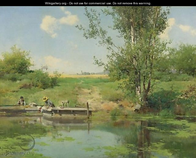 Laundry At The Edge Of The River - Emilio Sanchez-Perrier