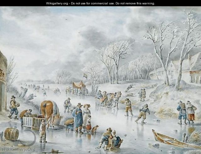 Many Figures On A Frozen Canal, A