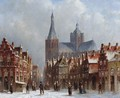 Figures On A Square In A Wintry Town, Possibly 'S-Hertogenbosch - Pieter Gerard Vertin