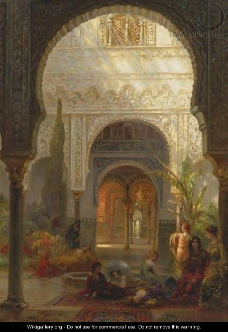 The Patio Della Reina, The Alcazar, Sevilla - Ernst Carl Eugen Koerner