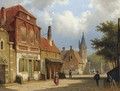 Figures In The Sunlit Streets Of A Dutch Town - Willem Koekkoek