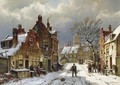 Figures In The Streets Of A Wintry Dutch Town - Willem Koekkoek