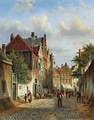 Figures In The Sunlit Streets Of A Dutch Town - Johannes Franciscus Spohler