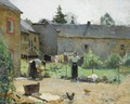 Women Hanging The Laundry Out To Dry In A Courtyard - Evariste Carpentier