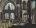Interior Of A Gothic Church With Elegant Figures And Clerics - Flemish School