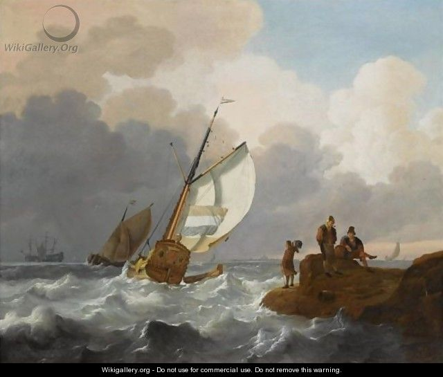 Dutch Sailing Vessels In Choppy Waters, Fisher Folk On The Rocks In The Foreground, A View Of A Town Beyond - Wigerus Vitringa
