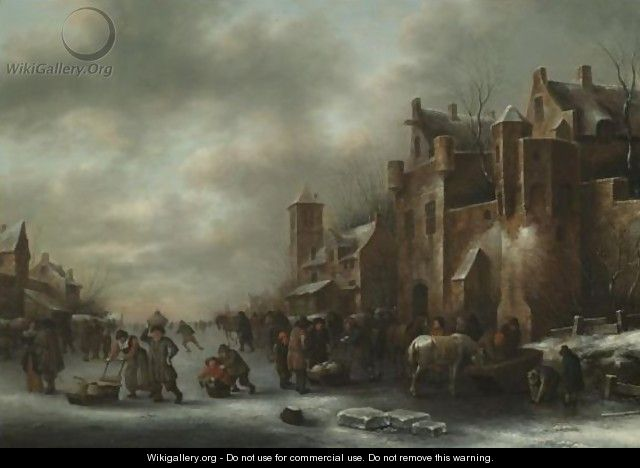 A Winter Landscape With Numerous Figures On A Frozen River Outside The Town Walls - Claes Molenaar (see Molenaer)