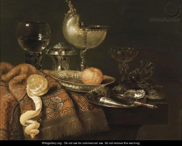 A Still Life With A Nautilus Cup, A Silver Salt Cellar, A Roemer And A Facon De Venise Glass, An Orange On A Pocelain Plate - Willem Claesz. Heda