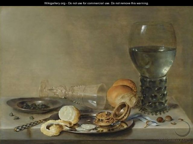 Still Life Of A Roemer And A Facon De Venise, A Partly Peeled Lemon, A Pocket-Watch And Capers On Pewter Plates - Willem Claesz. Heda